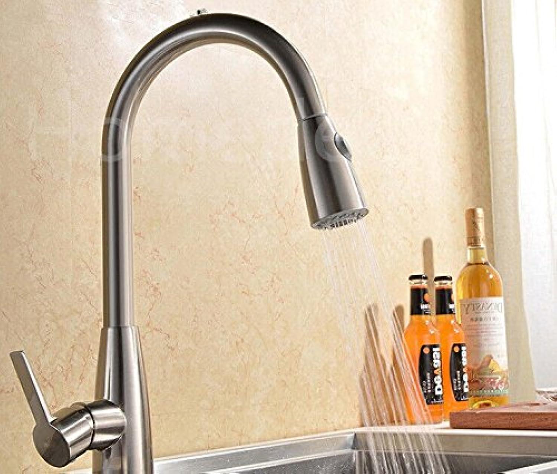 YFF@ILU Kitchen Sink Faucet Kunststoff Hebel Herausziehen Feldspritze Handfeger Nickel Farbe Messing