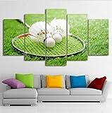 HTBYTXZ HD Print 5 Stück Leinwand Kunst Badminton