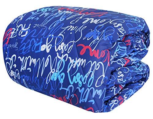 Bassetti - Trapunta Invernale Letto 1 Una Piazza e Mezza in Cotone Blu Double Face DC Words - 220 x 260 cm