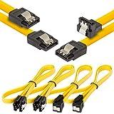 Poppstar 4x cavi dati di 0.5m flessibili Sata 3 HDD SSD, 2x connetore dritto, 2x connettore dritto su angolato di 90 gradi, fino a 6 GB/s, giallo