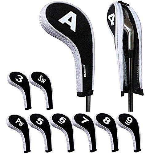 Andux numéro Capuchon de Golf Avez Nuque Long zippé 10pcs Noir/Blanc MT/w08