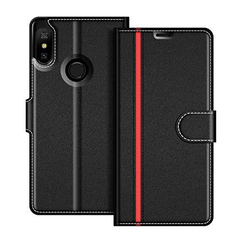 COODIO Funda Xiaomi Mi A2 Lite con Tapa, Funda Movil Xiaomi Mi A2 Lite, Funda Libro Xiaomi Mi A2 Lite Carcasa Magnético Funda para Xiaomi Mi A2 Lite, Negro/Rojo