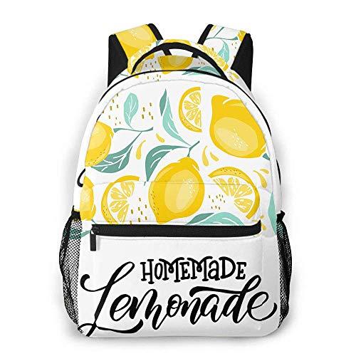 Lemon Beiläufiger Rucksack Limonade Selbstgemachtes Wort B Kalligraphie Natur Vitamin Schulrucksack Reiserucksack mit Seitentaschen in der Flasche