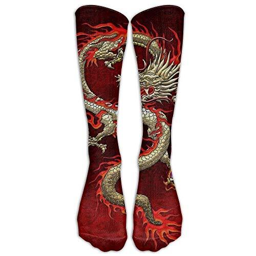 remmber me Heiße rote Wut-chinesischer Drache-kniehohe lange Socken-athletische Sport-Rohr-Strümpfe, die Fußball-Fußball laufen lassen
