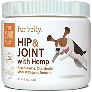 Glucosamine for Dogs Hip and Joint Supplement - Glucosamine Chondroitin for Dogs with MSM, Organic Hemp, Turmeric & Omega 3, - Dog Joint Supplement - Pain Relief, 120 Soft Chew Dog Glucosamine Treats