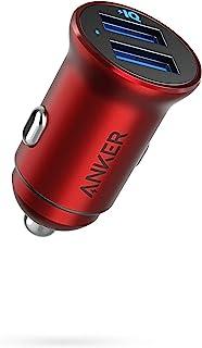 Anker Billaddare, mini 24 W 4,8 A metall dubbel USB-billaddare, PowerDrive 2 legering flush fit biladapter med blå LED, fö...