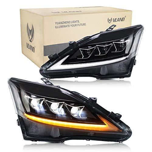 VLAND LED DRL Frontblinker set Schwarz für IS250 IS350 IS220D ISF 2006-2012 Scheinwerfer mit sequentieller Blinker