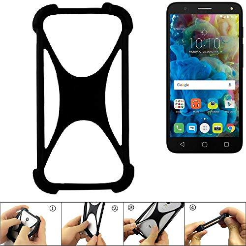K-S-Trade Handyhülle Für Alcatel One Touch Pop 4 Schutz Hülle Silikon Bumper Cover Case Silikoncase TPU Softcase Schutzhülle Smartphone Stoßschutz, Schwarz (1x)