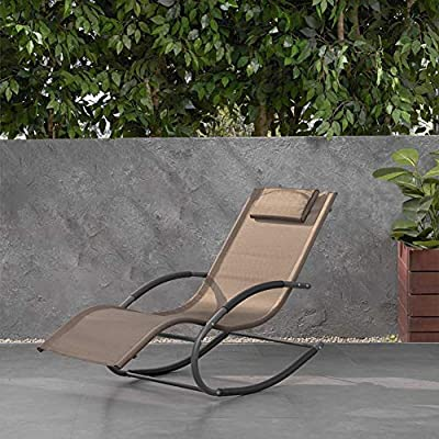 Crestlive Products Patio Rocking Chair Curved Rocker Chaise Lounge Chair with Pillow for Beach Yard Pool Outdoor Indoor, Gray Steel Frame (Brown)