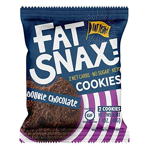 Fat Snax Cookies - Low Carb, Keto und Sugar Free (Double Chocolate Chip, 12er Pack (24 Cookies)) - Keto Freundlich & Glutenfreie Snacks