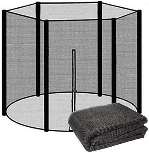 XIUWOUG Red de reemplazo de trampolín Net Net UV Resistente a la Red Trampolín Protección de trampolín Ø 244 305 366 427cm |,Negro,244 CM(8FT)~6 stangen