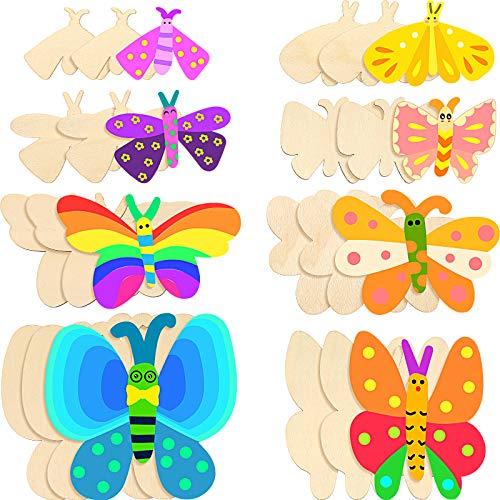24 Stücke Schmetterling Holz Handwerk Schmetterling Unvollendete Holz Ausschnitte Schmetterling Form Scheiben Ausschnitte Leer Schmetterling Holzfarbe Basteln für Kinder Malerei DIY, 8 Stile