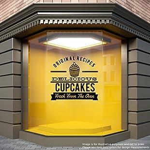 Delicious Cupcakes Shop Window Sticker Bakery Cafe Tea Room Vinyl Decal