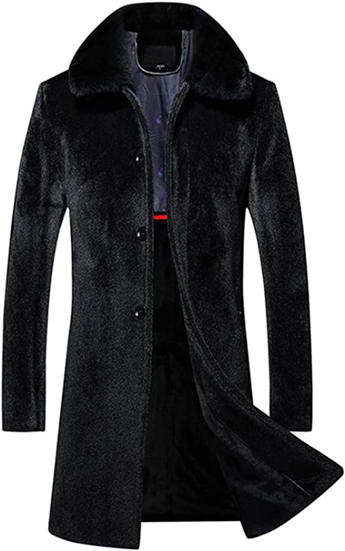 Men Thick Long Trench Coat Single Breasted Slim Fit Men Faux Fur Coat Fashion Warm Windproof Jacket
