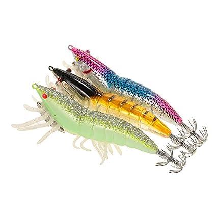 Lixada 3/5pcs 12 cm/21 Noctilucentes Pesca Camarones Señuelo Cebo de Calamar de Gambas (3pcs /12cm 7g)