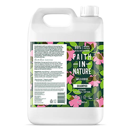 FAITH IN NATURE Natural Wild Rose Shampoo, Restoring, Vegan & Cruelty Free, Parabens and SLS Free, For Normal to Dry Hair, Refill Pack, 5 L