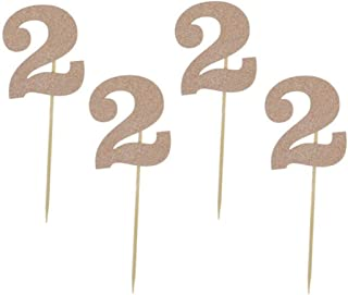"""Glitter Rose Gold 2nd Birthday Party Cupcake Toppers. 24 Pack Number 2"""" Cupcake Toppers"""