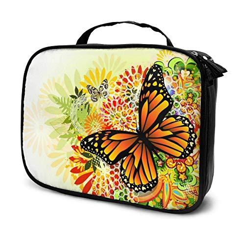 Organizador de bolsas de maquillaje de viaje de mariposa, gran capacidad, portátil, separadores extraíbles, caja de maquillaje, caja de almacenamiento, bolsa multiusos de regalo para niñas y mujeres