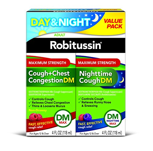 Robitussin Adult Maximum Strength Cough + Chest Congestion DM Max & Nighttime Cough DM Max (2 bottles of 4 fl. oz.), Cough Suppressant, Expectorant (Day) & Cough Suppressant, Antihistamine (Night)