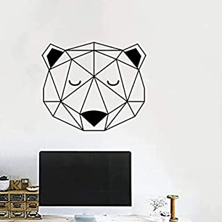 kucoolou Nordic Style Woodland Bear Head with Triangle Wall Stickers Home Decoration Geometric Vinyl Wall Decal for Kids R...