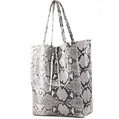 modamoda de - T163 - Ital. Shopper Large mit Innentasche aus Leder, Farbe:Schlange