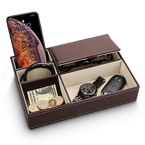 Baoyun Mens Valet Tray Organizer - Leather Nightstand Dresser Top Box with 5 Compartment for Accessories, Wallet, Phone, Keys (Brown)