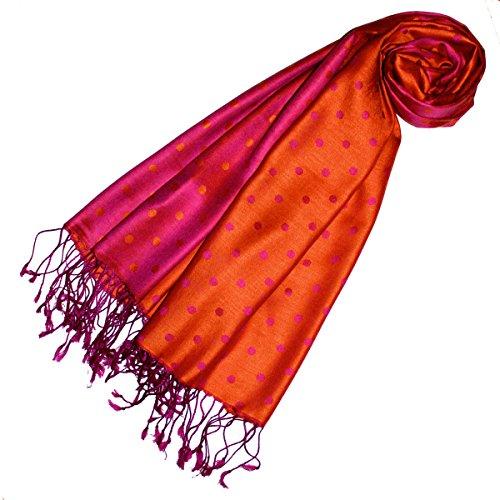 Lorenzo Cana Damen Pashmina 70% Seide 30% Viskose gepunktet Schaltuch 70 cm x 190 cm Orange Pink Schal Damenschal 78134