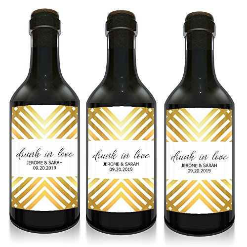 """Drunk in Love"" Mini Small Wine Bottle Custom Label Sticker for Wedding Party Reception, Engagement, Bridal Shower, Bachelorette, Elopement Invitation - Specialized Personalized Bespoke Set of 10"