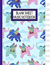 Blank Sheet Music Notebook: Flying Elephants Music Manuscript Staff Paper for Musicians (108 pages, 12 staves per page)