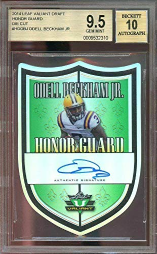 2014 leaf valiant draft honor guard die cut #hgobj ODELL BECKHAM auto rc BGS 9.5 - Football Slabbed Autographed Cards