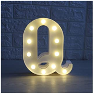 CSKB LED Marquee Letter Lights 26 Alphabet Light Up Marquee Letters Sign for Wedding Birthday Party Battery Powered Christmas Night Light Lamp Home Bar Decoration Q