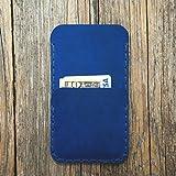 Custodia blu a guscio per iPhone 11 Pro Max, XS Max, 8 Plus, 7 Plus in cuoio con 1 porta carta di credito e banconote verticale portacellulare cover case caso