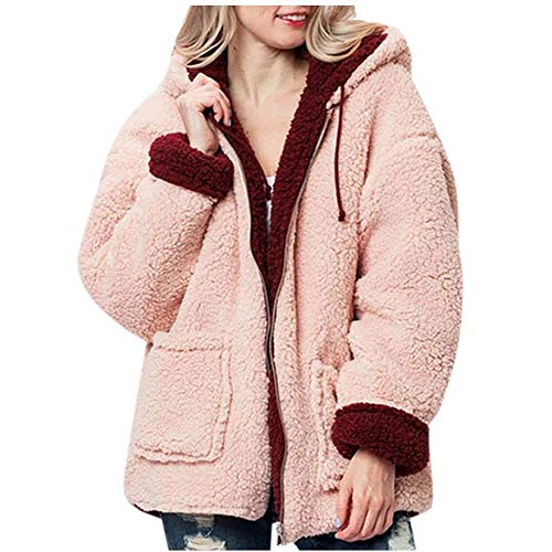 VJGOAL Abrigo de Felpa para Mujer Moda de Invierno Sólido Piel sintética Bolsillos con Cremallera con Capucha Abrigos Reversibles Chaqueta