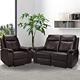 VUYUYU Recliner Sofa Set 3 Seater Sectional Sofa with Massage & Heating - PU Leather Home Theater Seating Manual Recliner Motion Living Room Chair Manual Reclining Couch Sofa Chair