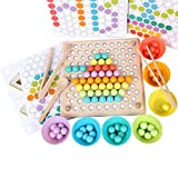 QZMTOY Wooden Peg Board Beads Game, Puzzle Color Sorting Stacking Art Toys for Toddlers, Counting Toy for Kids, Toddler Educational Montessori Games for Math Learning, Great Gift for Girls and Boys