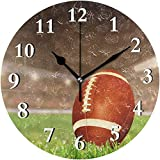 XXSCXXSC Horloge Murale Ronde Horloge Murale Sport Jeu de Balle de Rugby pour la Maison Salon Cuisine Chambre Bureau école