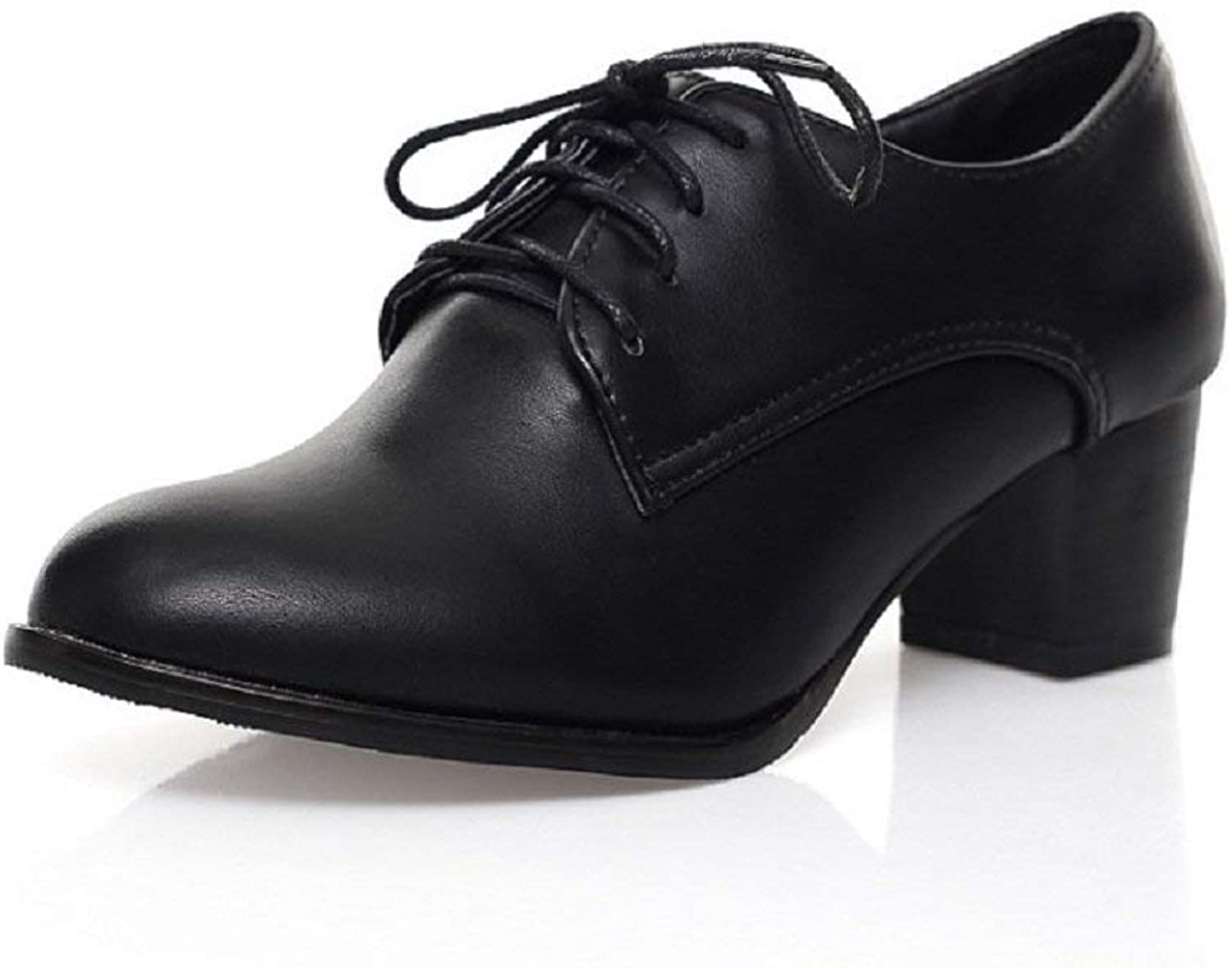 Wallhewb Fashion Womens Oxfords shoes Mid Heel Lace Up Black Highten Increasing Pointed Toe Joker Small Fellow Skinny Comfortable for Women Platform Ankle Heels Fashion Black 7.5 M US Oxford shoes