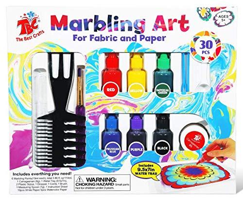 TBC The Best Crafts 30pcs Marbling Art Paint Kit, 6 Botellas de Marmor (Cada una), Art of Painting on Water, Ebru Art, Suminagashi Creativo, Juguetes y Regalos, Arts and Crafts Farbset