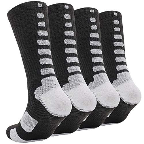 DILIBA Big Boys Basketball Crew Socks Sport Football Run Dry Feet Dri Fit Mid Calf Half Cushion no Odor Thick Elite Socks Balck 4 Pair