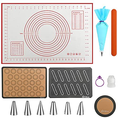 """Silicone Baking Mat Set with Dough Rolling Mat,Pack of 4, 1 16"""" x 24"""" Kneading Mat, 1 Eclair Baking Mat (Premium),1 Macaron Baking Mat,1 9""""Round Pizza Baking Mat (grey)"""