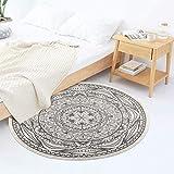 Pauwer - Alfombra redonda de algodón, 120 cm, lavable a máquina, tejida a mano, con borla, para el recibidor, pasillo, hogar, cocina, sala de estar, dormitorio