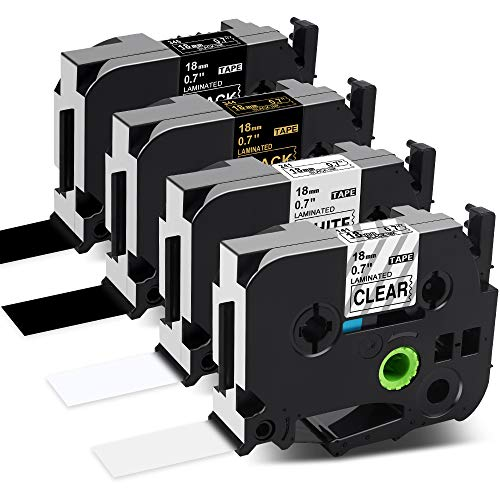 Labelife Compatible 18mm Label Tape Replace for Brother P-Touch 18mm 0.7 TZe Tape TZe-241 141 344 345 TZe241 TZ 3/4 Laminated Clear/White/Black for Brother Ptouch PTD600 PTD400AD Label Maker, 4-Pack