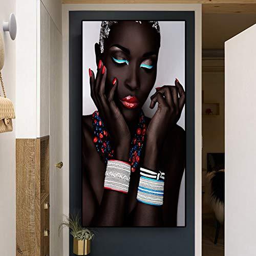 N / A Schwarzafrikanerin Lippen und Nägel Poster und Drucke Leinwand Wandbild Wohnzimmer Bild Rahmenlose Malerei 50cmX100cm