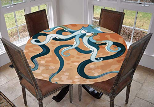 Octopus Decor Round Tablecloth,Giant Octopus with Long Legs Exotic Oceanic Animals Beast Wild Life Illustration Print Polyester Table Cover,48 Inch,For Parties Weddings Spring Summer Orange Blue