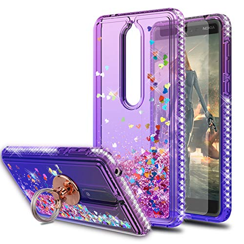 Nokia 6.1 Case Nokia 6.1 2018 Case with HD Screen Protector with Ring Holder,KaiMai Glitter Moving Quicksand Clear Cute Shiny Girls Women Phone Case for Nokia 6.1(2018)-Pueple Blue Ring