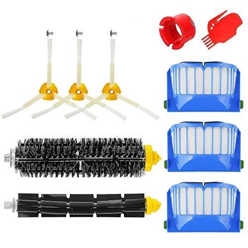 MTKD® Kit Bürsten Ersatz Kompatibel mit iRobot Roomba Serie 600 - 10 Teile Zubehör Kit (Bürsten seitlichen Cerda und etc..), Filter, Bürste für Staubsauger Roboter.