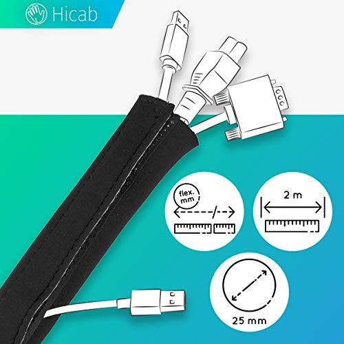 Hicab 2 m Neopren Kabelschlauch mit Klettverschluss, schwarz: Universal Gewebeschlauch für Buero/Schreibtisch mit PC/Computer, Fernseher/Heimkino. Einfache Kabelmanagement- & Kabelschutz-Lösung.