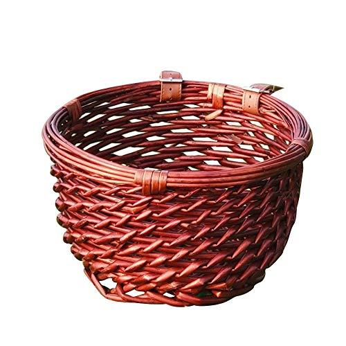 Feel-ling Wicker Bicycle Front Basket, Handwoven Bike Front Handlebar Basket Weatherproof Round Bike Front Crate Suitable for Men Women Kids Bikes(brown)