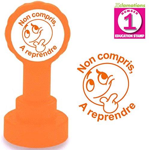 Non compris, A reprendre. Emoji/Smiley Tampon Auto-encreur pour Enseignant. Encre Orange. Taille 22mm. Recharge Disponible