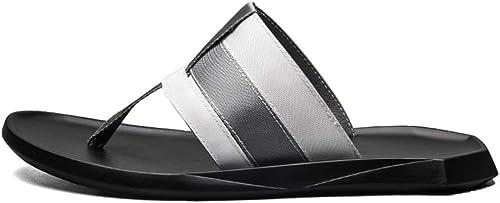LiXiZhong Herren Hausschuhe Herren Strandschuhe Ledersandalen Outdoor Casual Sandalen (Farbe   Weiß, Größe   42 EU)